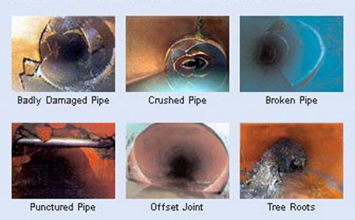 badly damaged pipe, crushed pipe, broken pipe, punctured pipe, offset joint, tree roots